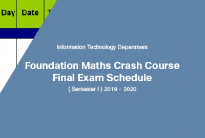 Foundation Maths - (Basic/Pure/Applied Maths) Crash Course Final Examination and ITAD1100 – Advance IT Skills Final Test Schedule