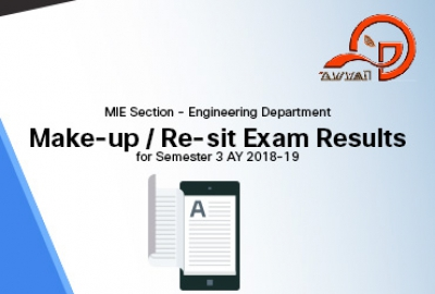 MIE Section (Engineering Department) -  Make-up / Re-sit Exam Results for Semester 3 AY 2018-19