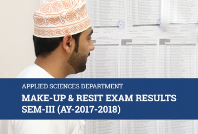 Applied Sciences Department - Makeup/Resit Exam Results for Semester 3, AY 2017-18​