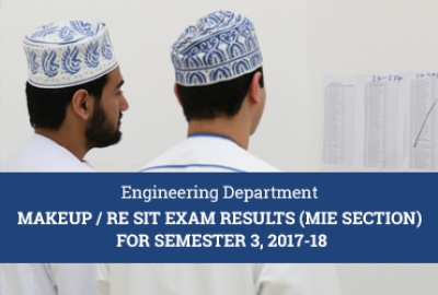 MIE Section - Makeup/Resit Exam Results for Semester 3, AY 2017-18​