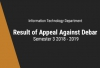 IT Department - Result of Appeal Against Debar (UPDATED)