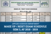 Applied Sciences Department - Makeup and Re-sit exam Timetable of Semester 3, AY 2018-19