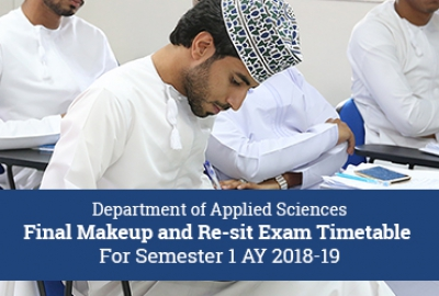Applied Sciences Department - Make-Up / Re-sit Exam Timetable for Semester 1, 2018-19