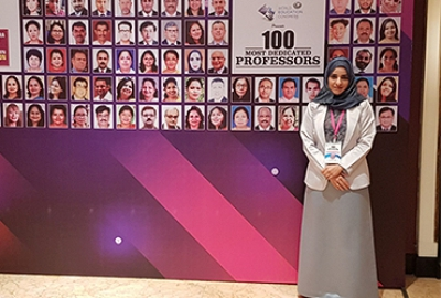 "Omani National Dr. Suad Al-Kindi, (Head of Environmental Sciences Section) has been awarded as ""100 Most Dedicated Professors"" by World Education Congress (WEC) under the theme ""Reorienting Education for a Sustainable Future"" in Mumbai (Republic of India)"