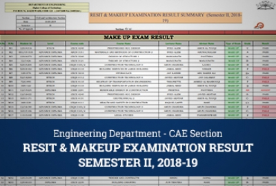 CAE Section - Make-up & Re-sit Exam Result, Sem 2 2018/2019