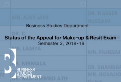 Business Studies Department - Status of the Appeal for Make-up & Resit Exam for Semester 2, 2018-19