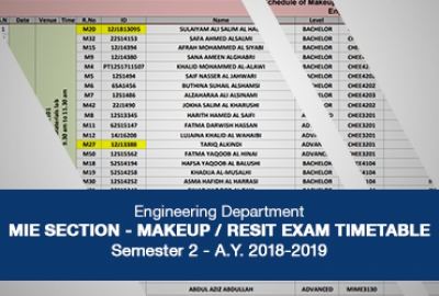MIE Section - Makeup/Resit Exam Timetable for Sem 2, 2018-19​