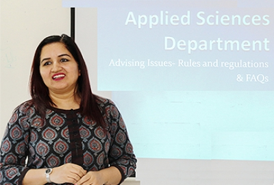 Presentation on advising and Registration Procedures and policies by Dr.Chhavi Singh at the Department of Applied Sciences