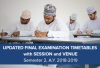 Updated Final Examination Timetables with Session and Venue - Semester 2, A.Y. 2018-2019