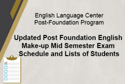 ELC Post-Foundation Program -  Updated PF English Make-up MSE Schedule and Lists of Students