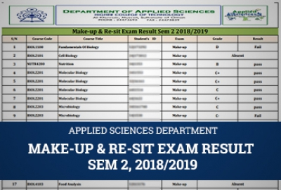 Applied Sciences Department - Make-up & Re-sit Exam Result, Sem 2 2018/2019