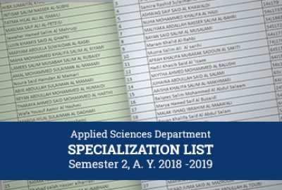 Applied Sciences Department - Specialization List for Semester 2, A. Y. 2018 -2019