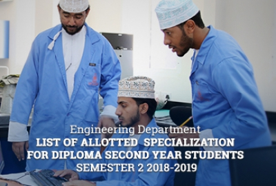 Engineering Department - List of Allotted Specialization for Diploma Second Year Students, Semester 2 2018-2019