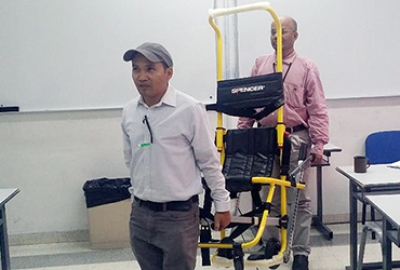"Demonstration on ""How to Use Evacuation Chair"" at the  IT Department"