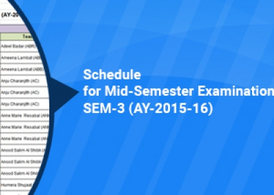 Post-Foundation Programme Schedule for Mid-Semester Examination - Sem-3 (AY-2015-16)