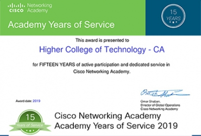 Congratulations HCT for 15 Years of Service in Cisco Networking Academy!