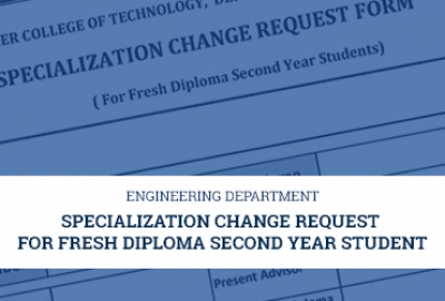 Engineering Department - Specialization Change Request for Fresh Diploma Second Year Students